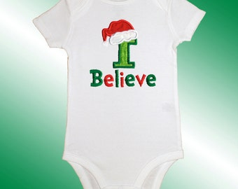 Christmas Baby Shirt Bodysuit - Embroidered Applique - I Believe - Short or Long Sleeved