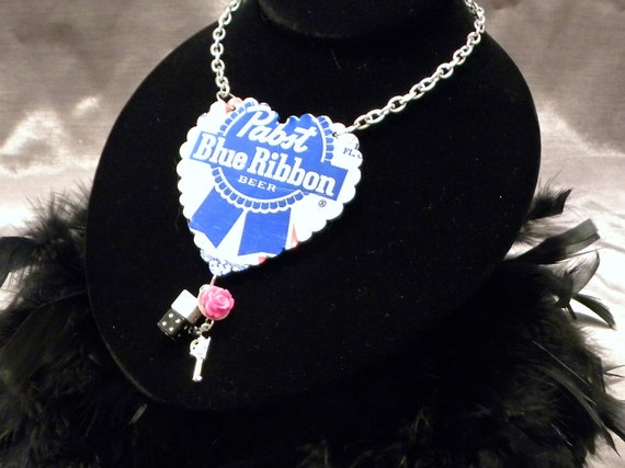 Pabst Blue Ribbon necklace, recycled necklace, rockabilly necklace