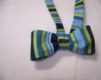 Blue and Green Stripped Men's Bow Tie -  Adjustable - or Clip on