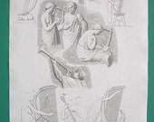 MUSICAL INSTRUMENTS of Antiquity Egypt Rome - 1804 Vintage Antique Print by Abraham Rees