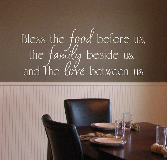Items similar to bless the food before us the family for Dining room vinyl wall art