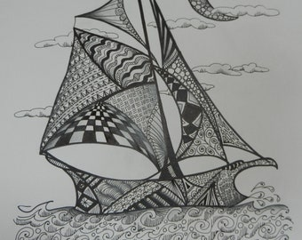 Sailboat with moon