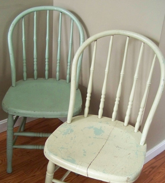Reserved Vintage Wooden Bentwood Chairs In Shabby Chic Aqua