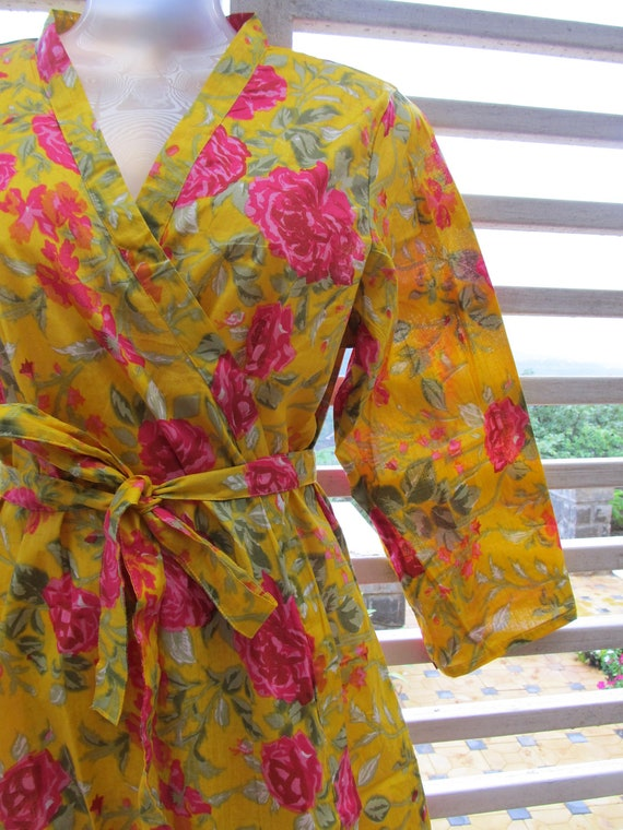 Yellow kimono robe with pink flowers - bridesmaids gift, getting ready robe, bridal shower party, party favors, wedding photo prop