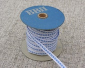 Vintage blue and white jacquard ribbon from the former Borås Ribbon Factory in Sweden   IKFF-001