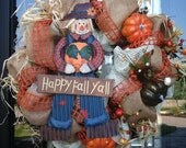 Happy Fall Y'all deco mesh Wreath
