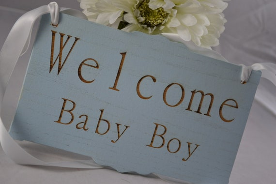 """Baby Nursery Sign for New Baby, Shower Gift, """"Welcome Baby Boy""""."""