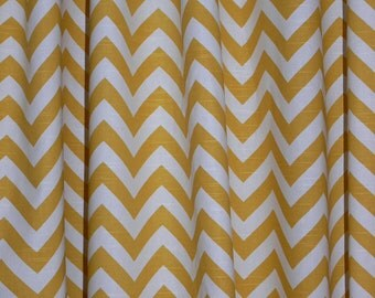 """Two Designer Curtain 24"""" Wide X up to 96"""" Long each - Corn Yellow Chevron"""