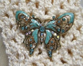 Turquoise Butterfly Scarf Pin