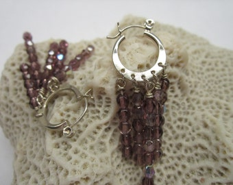 Purple Swarovski and Sterling Silver Earrings