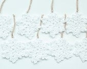 All White Snowflakes Crochet Christmas Decorations Set of 8