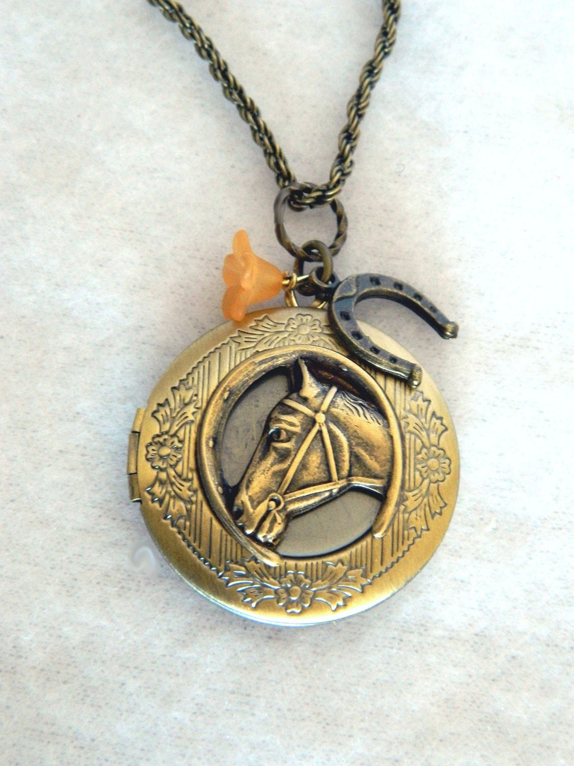 horse locket engraved locket necklace by snowmountaindesigns. Black Bedroom Furniture Sets. Home Design Ideas