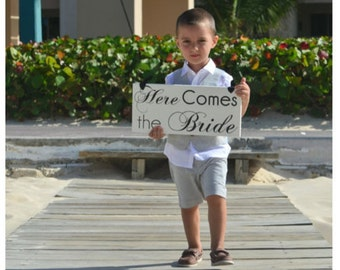 Here Comes the Bride and they lived Happily Ever after Ring Bearer Sign