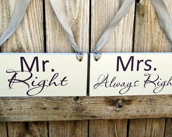 Double Sided Chair Signs Thank You and Mr Right Mrs Always Right Wedding Chair Hangers Double Sided