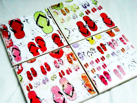 Drink coasters - set of coasters - flip flop coasters