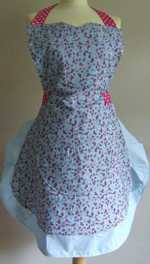 Apron - red cherries on blue print with halter neck