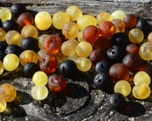 Multicolored Raw Baltic Amber beads with drilled hole. 100 pcs