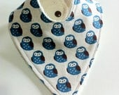 Linen and cotton owl bib backed with beautiful unbleached soft bamboo terry
