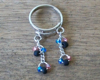 SALE!!  20% off!  Adjustable Dangle Ring with Matte Black and Czech Blue/Pink Seed Beads