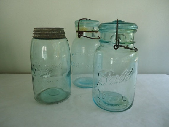 Blue Mason Jars, Ball Jar and Lightening, Set of (3)