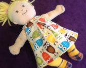 Little Reversible Dress in Bright Owls and Yellow Dot for Baby Stella, Waldorf and 13, 14, 15, 16 Inch Dolls, Doll,Clothes