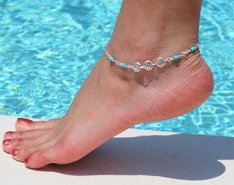 Daisy Turquoise Anklet
