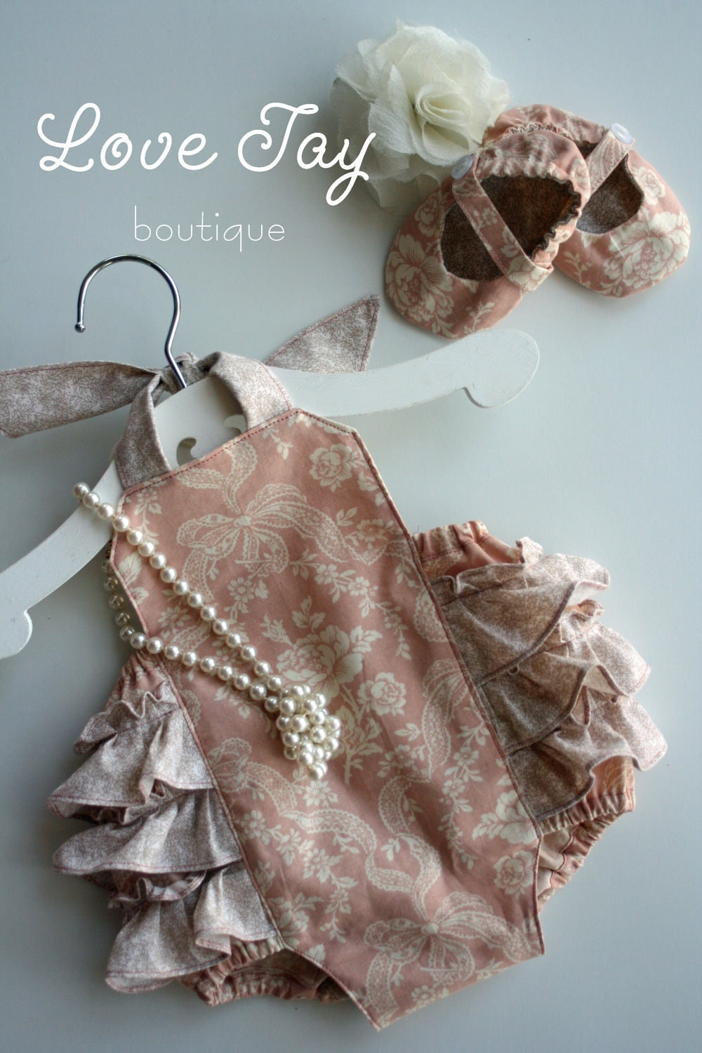 Baby Girl Sunsuit Ruffle Romper Peaches N Cream