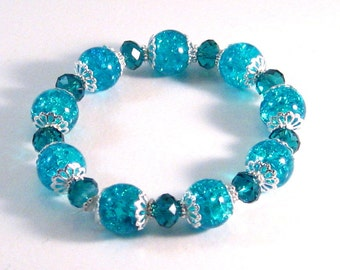 Aqua Blue Crackle Glass, Crystal & Silver Filigree Stretch Bracelet, Blue Jewelry, Winter jewelry, Womens Fashion, Christmas Gifts