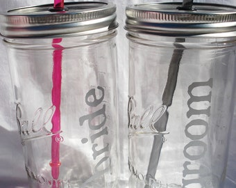 Two WEDDING Mason Jars Bride and Groom Mason Jar Glasses Mr and Mrs Mason Jars Toasting Glasses with Reusable Straws Mason Jar Wedding set