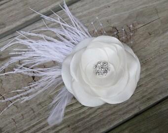 Bridal Hair Flower - Bridal Hair Accessory - Light Ivory - Satin Flower Clip  - Ostrich Feather Flower - Birdcage Veil Netting -  Rhinestone