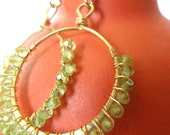 Free Shipping - Gold Peridot Hoops Hammered and Wire Wrapped Earrings
