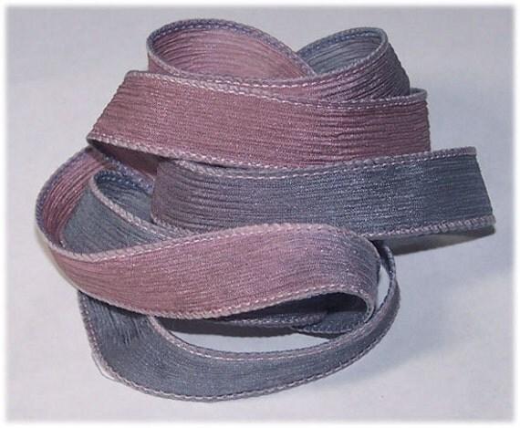 Hand Painted Silk Ribbon Rose Dust Wrist Wrap Ribbons Sassy Silks