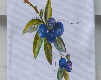 Blueberry Cotton Huck Kitchen Towel