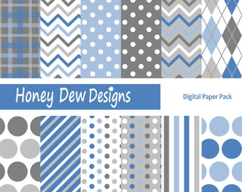 Instant Download - Digital Paper Pack 174 - Blue and Grey Patterned Paper