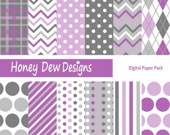 Instant Download - Digital Paper Pack 189 - Purple and Grey Patterned Paper