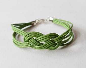 Leather Sailor Knot Bracelet - Olive Green Leather Strap Bracelet with Sailor Knot - Simple and Stylish