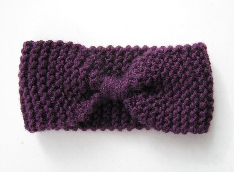 Knitting Pattern For Winter Headband : Knit knot headband purple ear warmer head wrap winter by sascarves