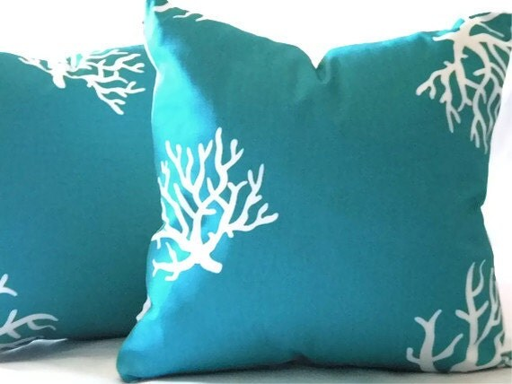 Decorative turquoise coral pillow cover indoor by MicaBlue on Etsy