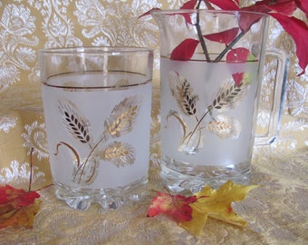 Italian Glass, Wheat Patterned, Cocktail Pitcher, Ice Bucket