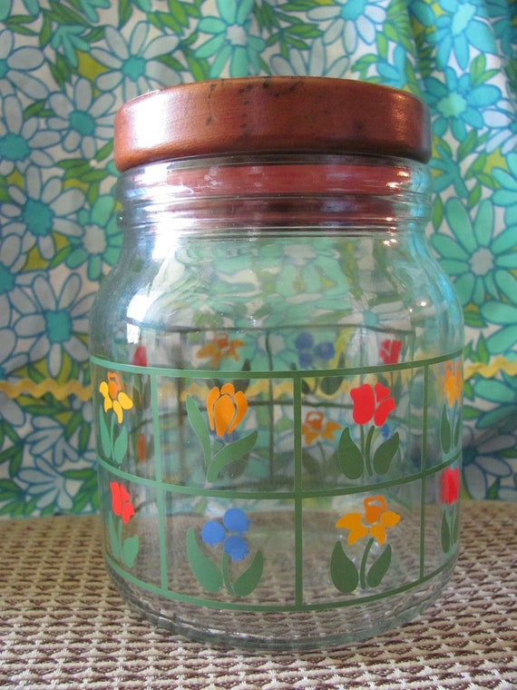 1980s, Nina, wood lidded, glass canister with spring flowers