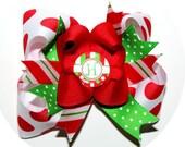 Custom Initial Polka Dot Red Green Christmas Hair BOW or HEADBAND U Choose infant, baby girl, boutique clip