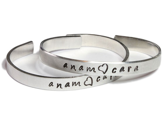 Hand stamped bracelets - Anam Cara Bestie Best Friend Soulmate Cuffs Pair - Made in Ireland, Custom Listing for Elina