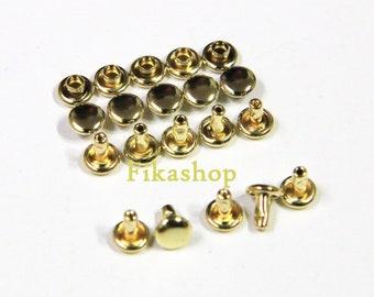 Clearance SALE: 5mm 100 sets Gold round double cap Rivet rapid studs / HIGH Quality - Fikashop