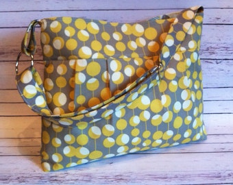 Pleated Purse w/ Zipper Pocket in Amy Butler Optic Blossom Mustard Martini