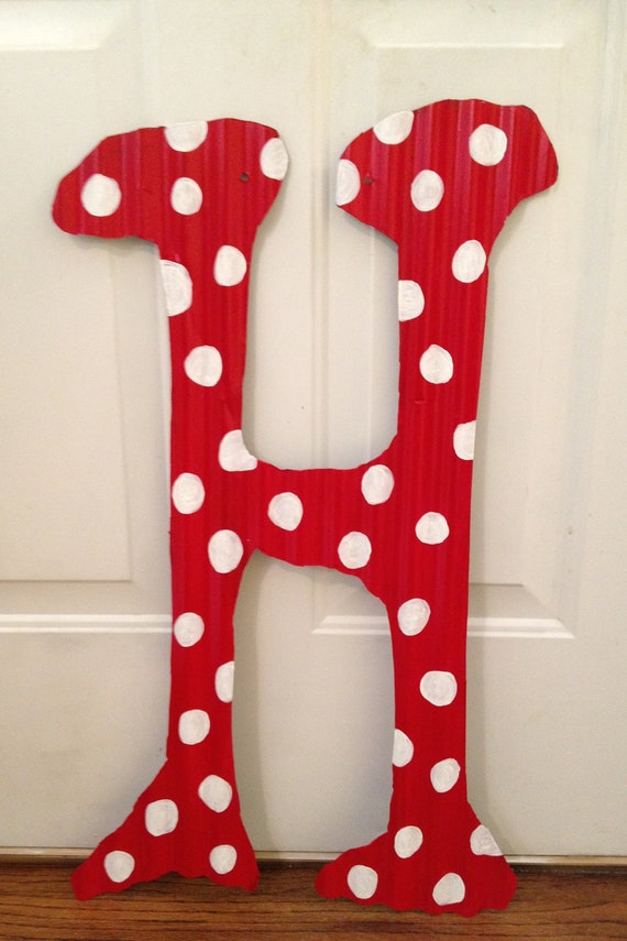Items similar to large custom hand painted corrugated for Metal letters for front door