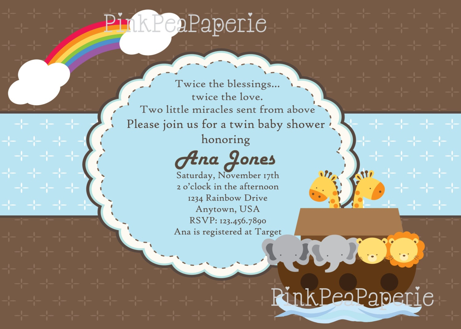 NOAH39;S ARK Baby Shower Invitation Blue or Pink by PinkPeaPaperie