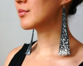 LAST ONE SALE Galaxy Starry Sky black leather- long fringed silverleafed upcycled leather earrings