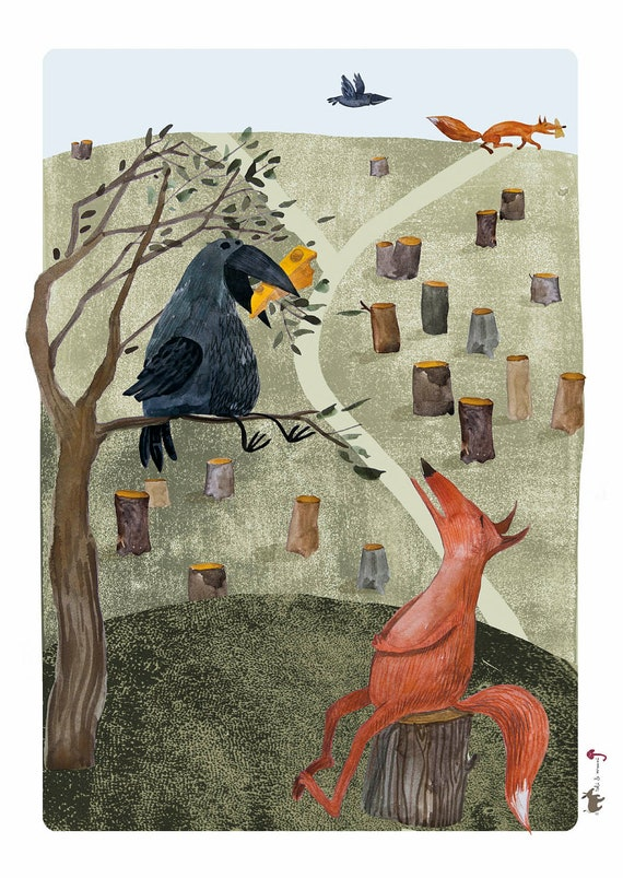 The Fox and the Crow Fable, Aesop, Poster, Illustration, Wall Decor