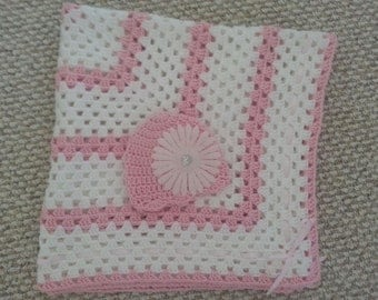 Baby girl blanket - white and pink - crochet blanket w/hat