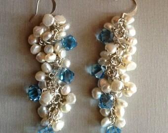 Swarovoski and Pearl Earrings